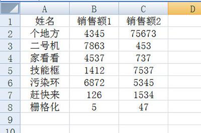 下方的表格为例子