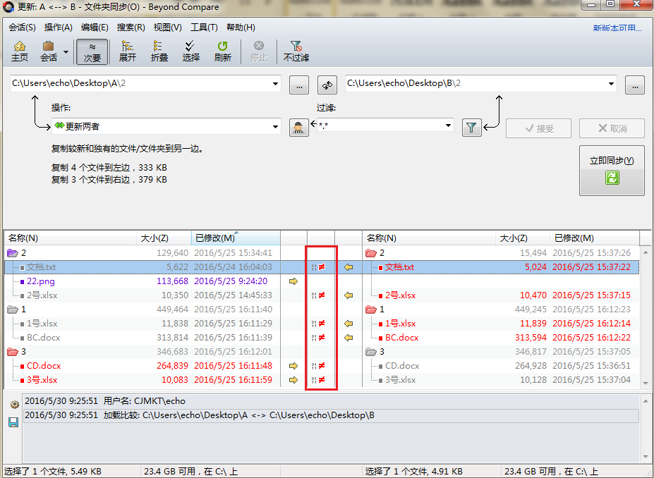 Beyond Compare文件夹同步中心窗格显示差异数据