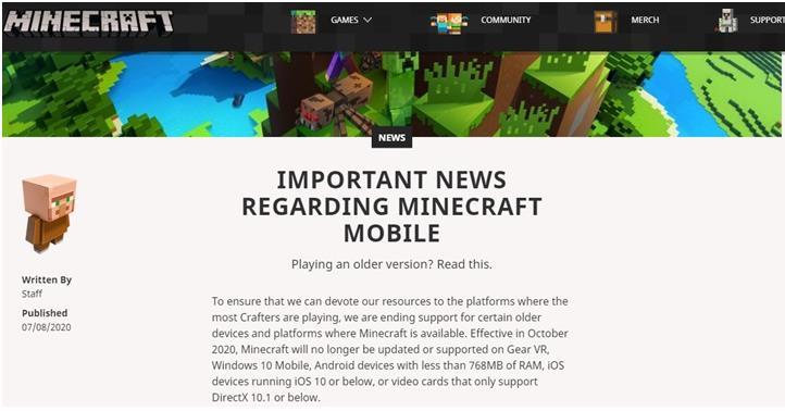 微软《我的世界》宣布将停止支持 Windows 10 Mobile 等设备